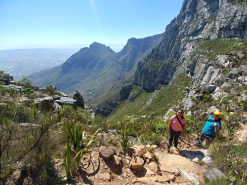 Travellers hiking Table Mountain in South Africa