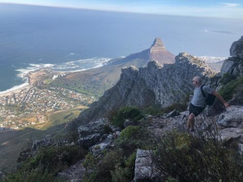 Reaching the top of Table Mountain on a hike