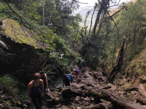 people hiking up Skeleton Gorge