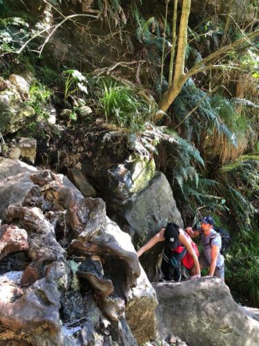 Scrambling up Skeleton Gorge